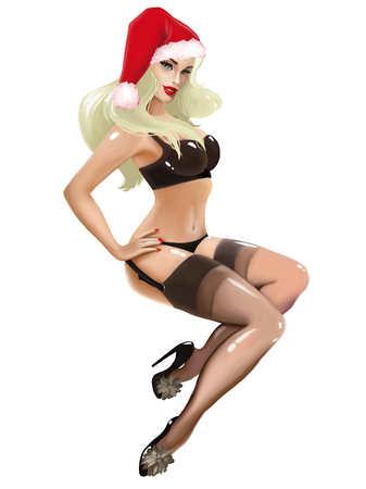 Illustration avec belle fille sexy millésime pin up déguisé en Père Noël Banque d'images - 41581044