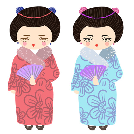 geisha kimono: vector icons of Japanese geisha dressed in traditional kimono attire. Japanese kimono with cherry print.
