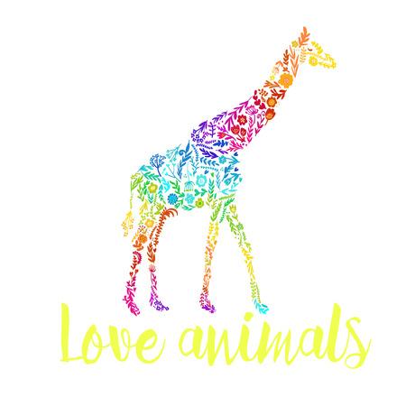 kid illustration: vector card with an african giraffe. cute floral giraffe. summer composition