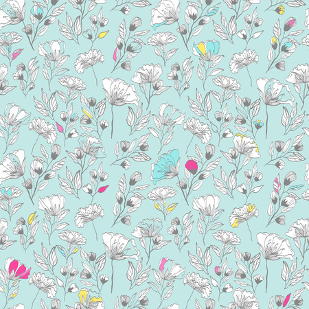peonies: vintage vector seamless pattern with floral elements. summer peonies flower and leaf elements. herbal pattern