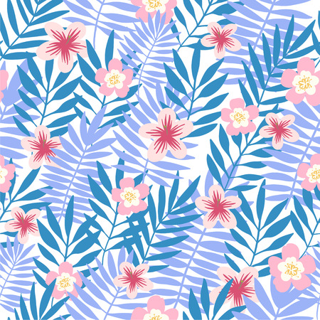 Seamless pattern. Tropical background with flowers. Vector illustration. Ilustrace