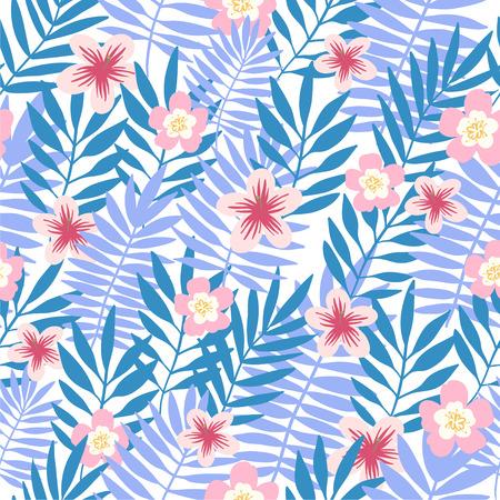 Seamless pattern. Tropical background with flowers. Vector illustration. Ilustração