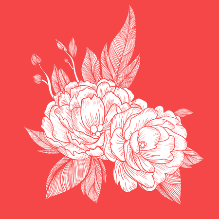 Peony bouquet background birthday card or invitation