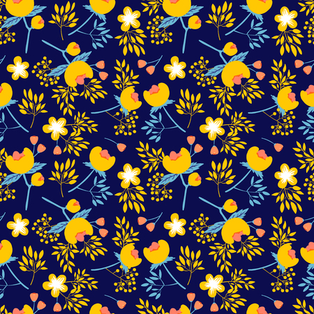 peon: vector seamless pattern with beautiful flower peones and leafs