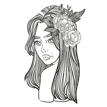 young beautiful woman with flower peony Illustration