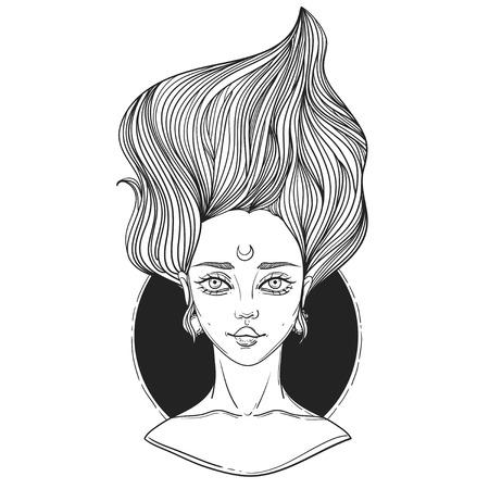 rockabilly: young beautiful woman. tattoo poster