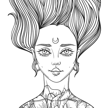 rockabilly: young beautiful woman with tattoo flower peony Illustration