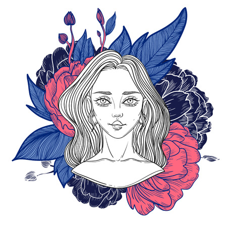 young beautiful woman with flower peony. tattoo poster Illustration