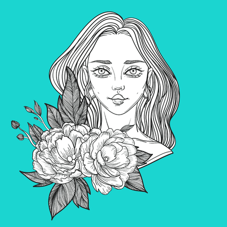 rockabilly: young beautiful woman with flower peony. tattoo poster Illustration