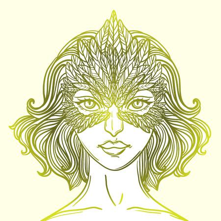 Ilustración del vector de la muchacha con la máscara de halcón