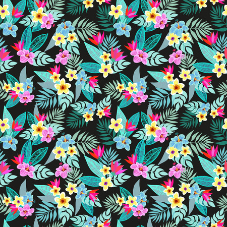 Beautiful seamless vector floral jungle pattern background. Colorful tropical flowers, palm leaves and plants, hibiscus, paradise flower, exotic print Ilustrace