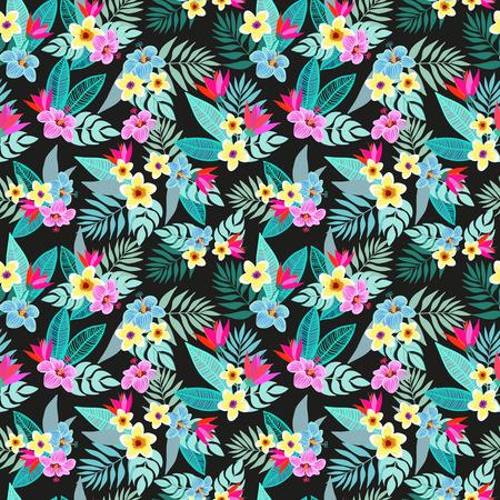 Mooie naadloze vector bloem jungle patroon achtergrond. Kleurrijke tropische bloemen, palmbladeren en planten, hibiscus, paradijsvogel bloem, exotische druk Stockfoto - 60033541