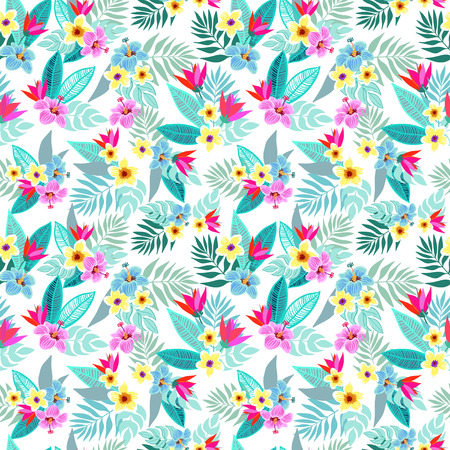 Beautiful seamless vector floral jungle pattern background. Colorful tropical flowers, palm leaves and plants, hibiscus, paradise flower, exotic print Ilustração