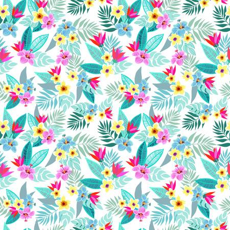 Mooie naadloze vector bloem jungle patroon achtergrond. Kleurrijke tropische bloemen, palmbladeren en planten, hibiscus, paradijsvogel bloem, exotische druk Stockfoto - 60033542