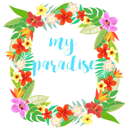 palm wreath: Beautiful vector floral jungle frame wreath. Colorful tropical flowers, palm leaves and plants, hibiscus, paradise flower, exotic print