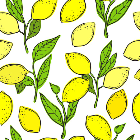 Seamless pattern with lemons. Vector background.