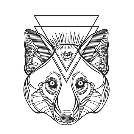 Animal head print for adult anti stress coloring page. Ethnic patterned ornate hand drawn vector illustration. Sketch for tattoo, poster, print or t-shirt. Illustration