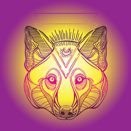 huskies: Animal head print for adult anti stress coloring page. Ethnic patterned ornate hand drawn vector illustration. Sketch for tattoo, poster, print or t-shirt. Illustration