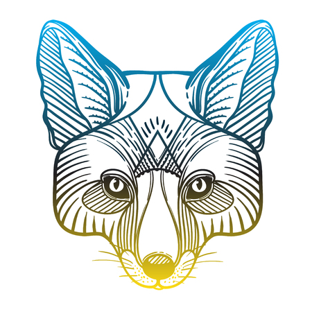 Animal Fox Head Print For Adult Anti Stress Coloring Page. Ethnic ...