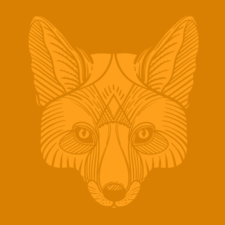 Animal fox head print. Ethnic patterned ornate hand drawn vector illustration. Sketch for tattoo, poster, print or t-shirt.