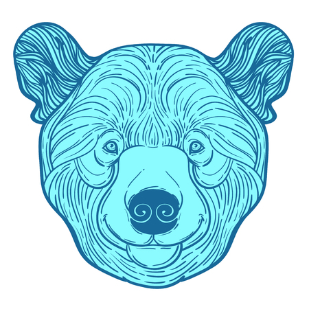 Animal teddy Bear head print for adult anti stress coloring page. Ethnic patterned ornate hand drawn vector illustration. symbol of Siberia, Russia. Sketch for tattoo, poster, print or t-shirt. Illustration