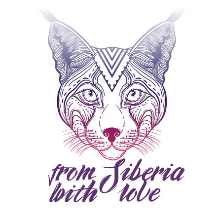 Vector Illustration of an Ornamental Ethnic Lynx Head. head Siberian lynx. suitable for logo print T-shirt