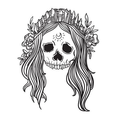 quartz crystal: Human skull with flower wreath and quartz crystal crown. Los muertos. Vector illustration.