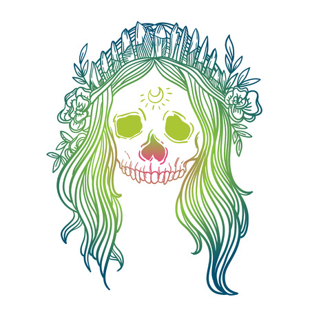 Human skull with flower wreath and quartz crystal crown. Los muertos. Vector illustration.