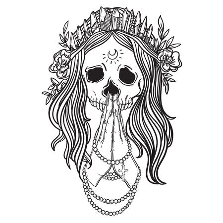 quartz crystal: Human skull with flower wreath and quartz crystal crown. praying girl. Los muertos. Vector illustration.