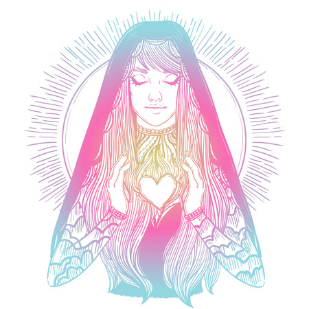 vector illustration of praying virgin Mary
