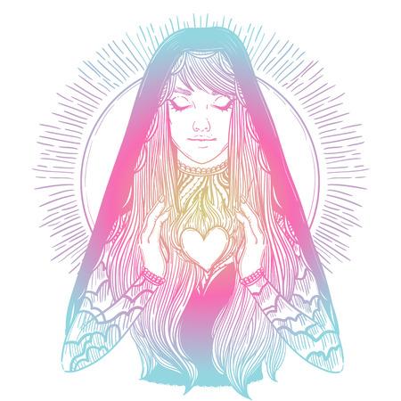 illustration vectorielle de prier vierge Marie
