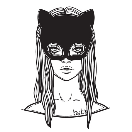 catwoman: Beautiful Cat Woman with the Carnival mask. Gothic girl in a mask of a black cat. linear illustration. occult illustration
