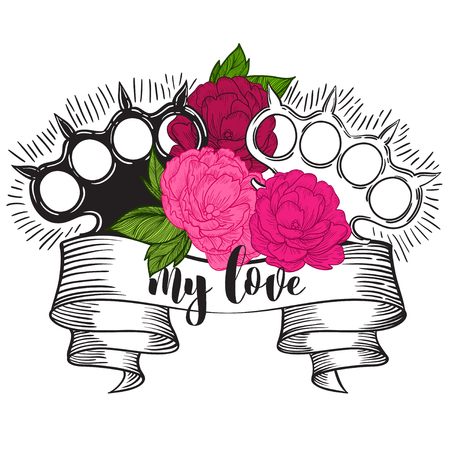 replaced: brass knuckles in roses. Old school tatoo style with weapon. vector illustration. the inscription can be replaced Illustration