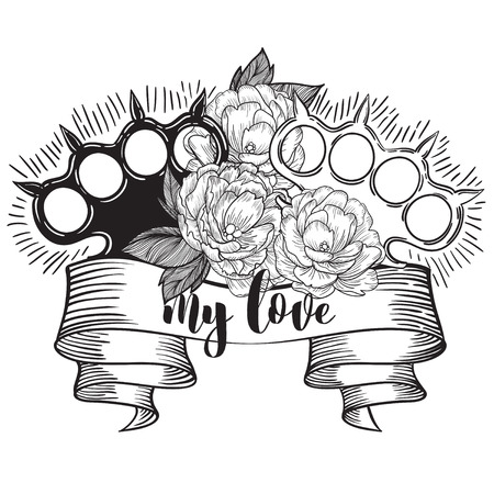 brass knuckles in roses. Old school tatoo style with weapon. vector illustration. the inscription can be replaced Illustration
