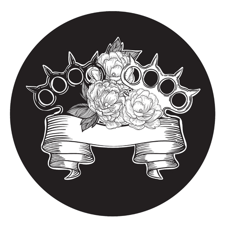knuckles: brass knuckles in roses. Old school tattoo style with weapon. vector illustration.