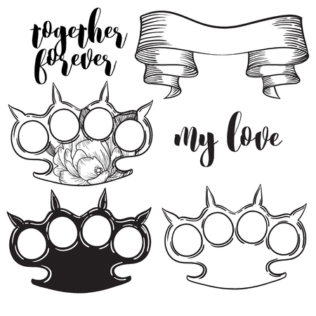 knuckles: set of brass knuckles. Old school tattoo style with weapon. vector illustration. Illustration