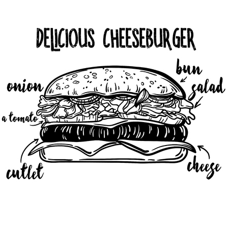 bun: illustration of a bun with sesame seeds, vector drawing. Cheeseburger Ingredients Line Art. Great burger for restaurant or cafe menu. label can be removed Illustration