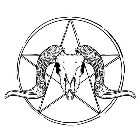 Ram skull vector illustration. occult symbol. sheep and star in a circle.