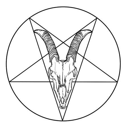 goat skull vector illustration. occult symbol. goat devilish magical symbol and star in a circle. Illustration