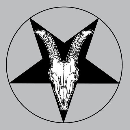 occult: goat skull vector illustration. occult symbol. goat devilish magical symbol and star in a circle. Illustration