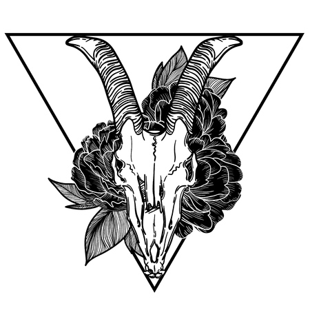 devilish: goat skull vector illustration. occult symbol. goat devilish magical symbol and Flowers peonies and roses in the triangle