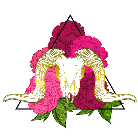Ram skull vector illustration. occult symbol. sheep devilish magical symbol and Flowers peonies and roses in the triangle Illustration