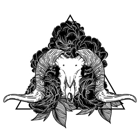 Ram skull vector illustration. occult symbol. goat devilish magical symbol and Flowers peonies and roses in the triangle Illustration