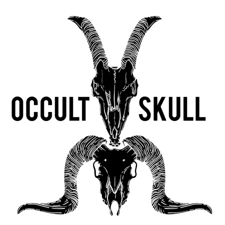 occult: Ram and goat skull vector illustration. occult symbol. sheep and goat devilish magical symbol