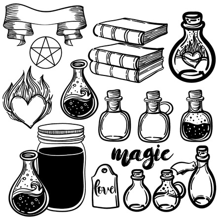occult: Vector set of glass flasks. Magic potions set of magical tubes and bottles. Vector illustration. occult objects for spells. Alchemy and vintage science.