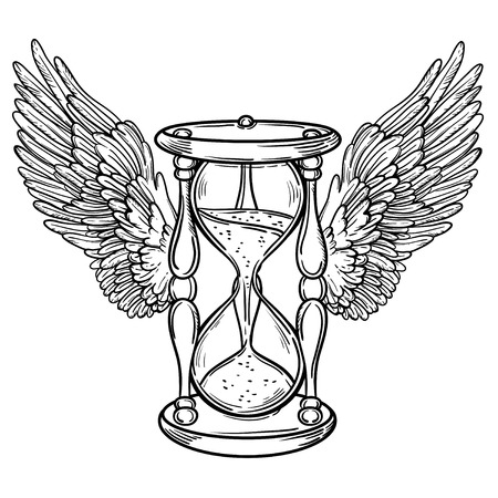 Decorative antique hourglass illustration with wings. Hand drawn vector tarot card. Sketch for dotwork tattoo, hipster t-shirt design, vintage style posters. Coloring book for kids and adults.