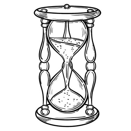 Películas antiguos reloj de arena de la ilustración aislado en blanco. Mano de cartas del tarot vector dibujado. Boceto para el tatuaje dotwork, diseño inconformista camiseta, estilo de la vendimia carteles. Libro para colorear para niños y adultos. Ilustración de vector