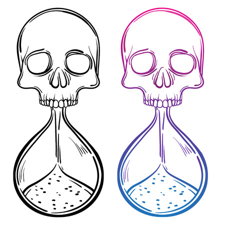 Coloring Book For Kids And Adults Decorative Antique Death Hourglass Illustration With Skull Hand Drawn Tarot Card Sketch Dotwork
