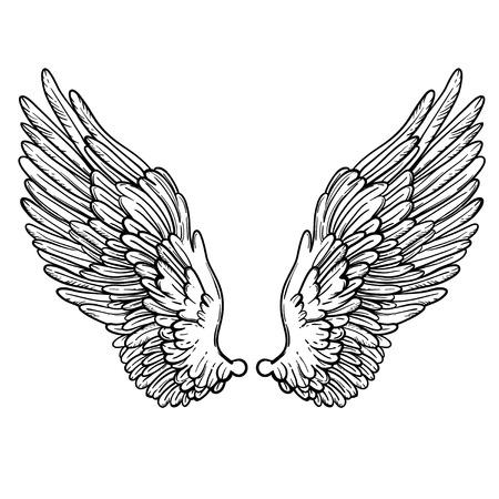 Lijn kunst illustratie van engelenvleugels. Hand getrokken vector kaart. Schets voor dotwork tattoo, hipster t-shirt design, vintage stijl posters. Kleurboek voor kinderen en volwassenen. Stock Illustratie