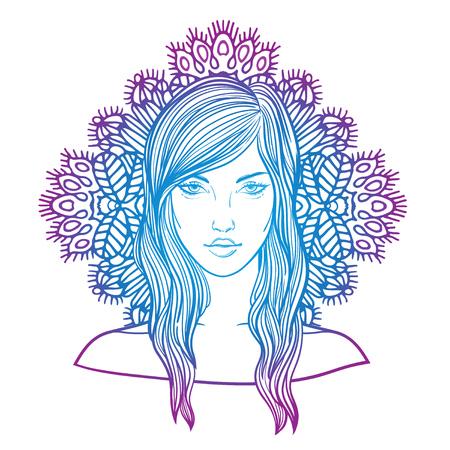 Virgo zodiac sign as a beautiful girl. fashion vector illustration. The Snow Queen. Crystal Maiden. Illustration